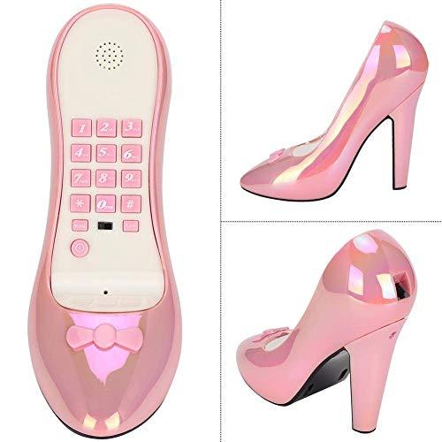 Diyeeni Desktop Festnetztelefon, Schuhe mit hohen Absätzen Form Telefon für Home Office Hotel Dekoration Geburtstagsgeschenk, Festnetztelefon(Buntes Rosa)