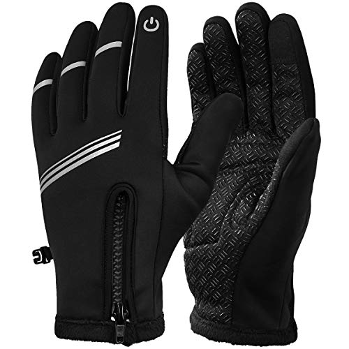 Hasagei Winter Gloves for Men/Women, Cycling Gloves, Thermal Gloves, Windproof, Warm, Touch Screen, Road Bike Gloves, Outdoor Sports Gloves, Adult (Unisex), black, L