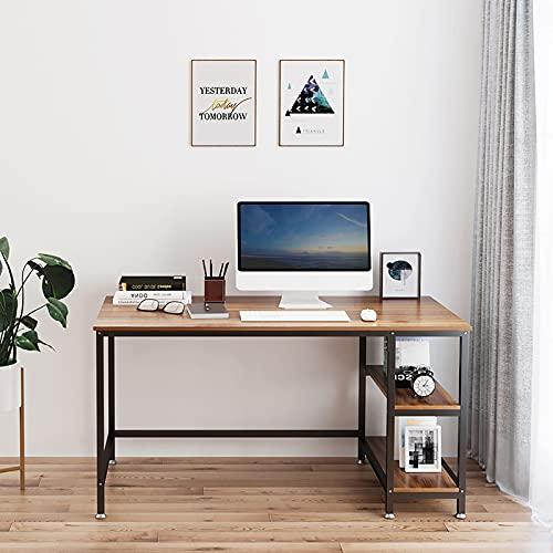 YOLEO Mesa Escritorio de Ordenador, Mesa Despacho con 2 Niveles de Estante, Escritorio de Oficina Estilo Moderno Industrial, Patas Ajustables, Mesa Madera Oficina Casa, 120x60x75cm, Nogal Claro