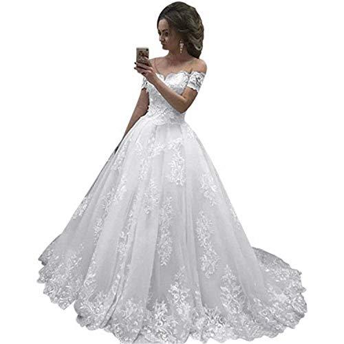 Fankeshi Damen-Hochzeitskleid, schulterfrei, A-Linie, weiß, elfenbeinfarben, Spitze, Brautkleider -  Weiß -  36