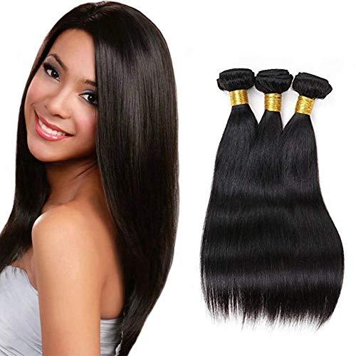 LVY Brazilian Hair Weave Straight Human Hair 3 Bundles 8A virgin Hair Brasilianische Haare Bündel Echthaar Weave Menschliche Haare 300 g Total 10 12 14 Inch