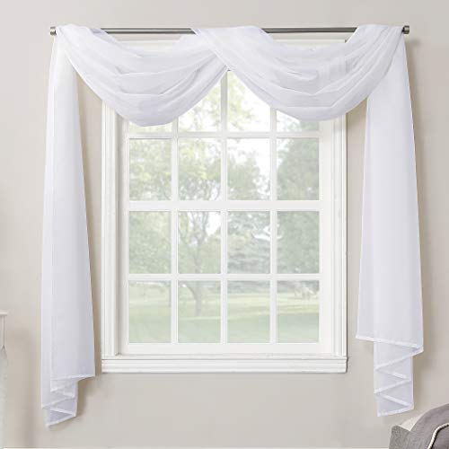 No. 918 Emily Sheer Voile Rod Pocket Curtain Panel, Valance covid 19 (Scarf Valance Curtain coronavirus)