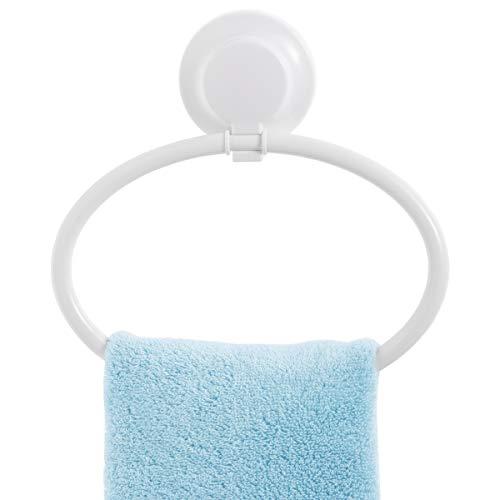 LEVERLOC Handtuchring mit Saugnapf Wandmontage Bad Handtuchhalter Bohren Abnehmbar Belastbarkeit 5 KG Wasserdicht Halter für Küchen- und Badzubehör - Weiß