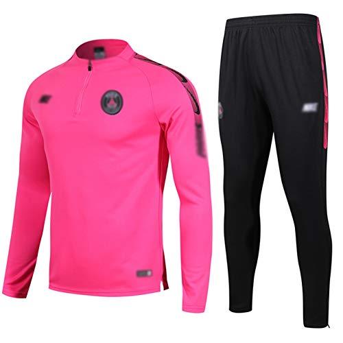 Gylilai Club de fútbol Europeo Sudadera de fútbol para Hombre Manga Larga Primavera y otoño Uniforme de Entrenamiento Deportivo Transpirable (Top + Pantalones) Rosa (Color : Pink, Size : S)