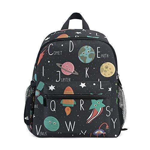 Kinderrucksack Space Alphabet Niedliche Flache Kindergarten-Vorschul-Tasche für Kleinkind-Mädchen-Jungen