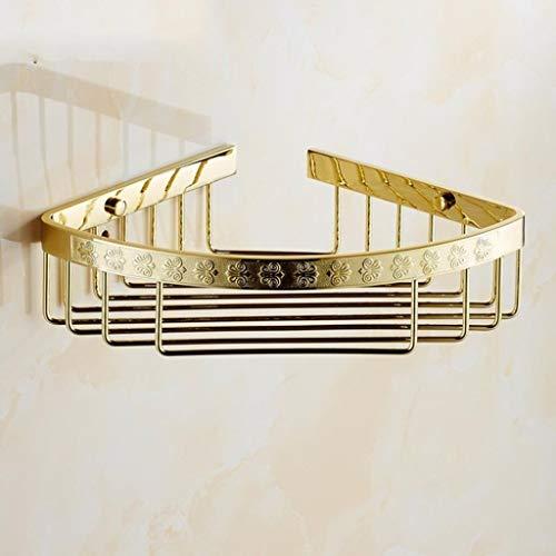 Cesta de almacenamiento de doble capa con triángulo de oro de una sola capa, estante de esquina de baño, estantes de baño chapados en oro antiguo (color: A)