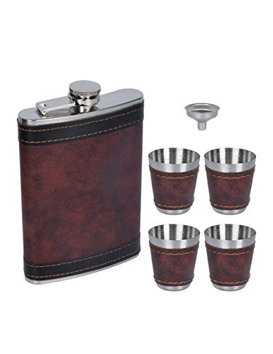 PU Leather 9oz Hip Flask Set Box - Vodka Tequila Bottle with 4 Cups Sets...