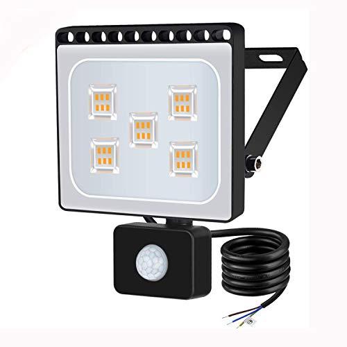 30w Foco led exterior con Sensor Movimiento ,Led Proyector para Exterior Iluminación Decoración alto brillo 3000lm IP 65 ,3000K blanco Cálido,luz led para Jardín, Garaje, Bodega y Patio