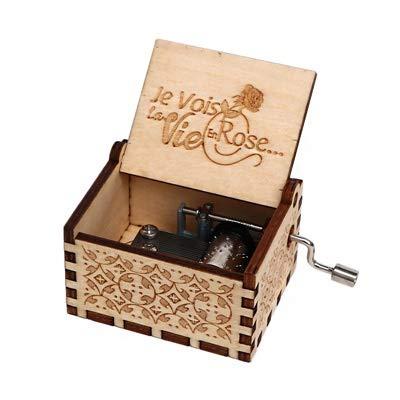 Hjd Antiguo Tallado Musical Box Manivela de Madera Caja de música de la Fiesta de cumpleaños Presente for el Tema Caixa de Música Regalo Antiguo Vintage Personalizable (Color : La Vie en Rose)