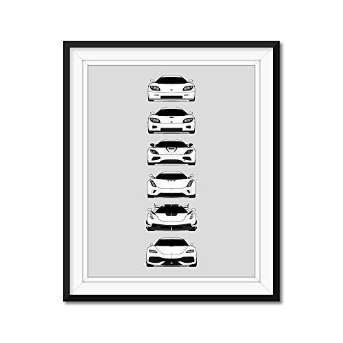 Koenigsegg Generations Inspired Poster Print Wall Art Handmade Decor of the History and Evolution of the Koenigsegg (CCR, CCX, Agera, Regera, Jesko, Gemera)