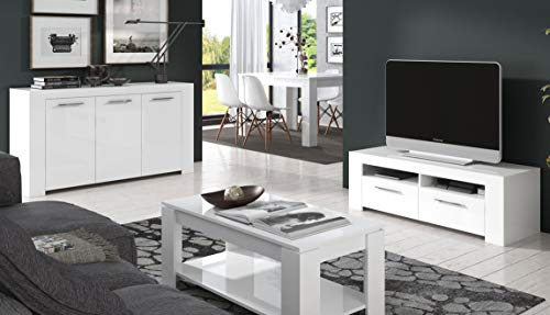 Pack Salon Comedor Mikonos Conjunto Blanco (Mueble TV+Mesa Centro elevable+Mesa Comedor Extensible+aparador)