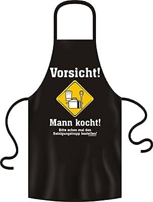 Sprüche Fun Koch Schürze : Vorsicht! Mann kocht! Bitte schon mal den Reinigungstrupp bestellen!