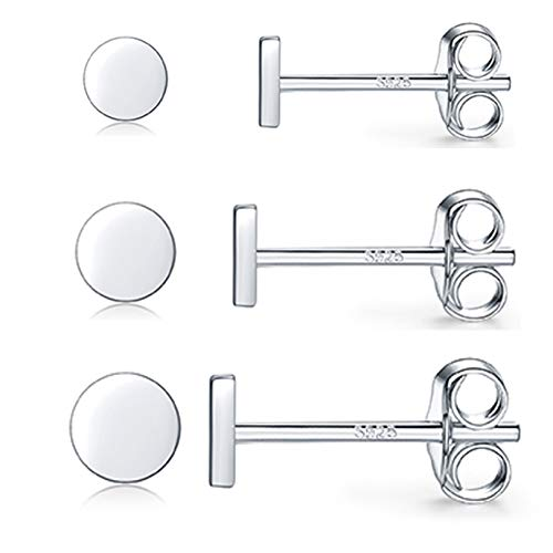 Pendientes de mujer plata 925, 3 pares pequeños pendientes esterlina, juego pura, piercing oreja, tragus, labios, joyas para hombre y mujer, regalos 2 mm/3 mm/4 mm