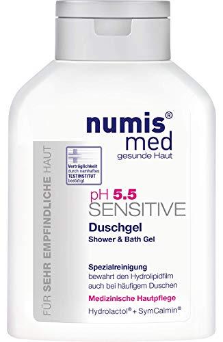 numis med Duschgel & Badegel ph 5.5 SENSITIVE - Hautpflege vegan & seifenfrei - Shower Gel für sensible, feuchtigkeitsarme & zu Allergien neigende Haut (1x 200 ml)