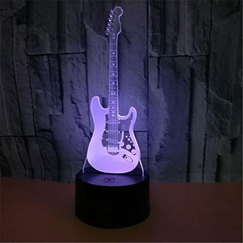 Lámpara de Noche de Ilusión óptica 3D LED de la carga USB del efecto creativo de la ilusión 3D con 7 colores que cambian para las decoraciones del hogar guitarra