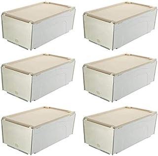 MU Grand 6 paquets, boîte de stockage de chaussure, boîte transparente transparente épaisse pliable de ménage,Beige