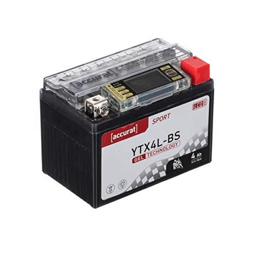 Accurat Motorradbatterie YTX4L-BS 4Ah 50A 12V Gel Technologie + LCD Display Roller Starterbatterie in Erstausrüsterqualität vorgeladen wartungsfrei