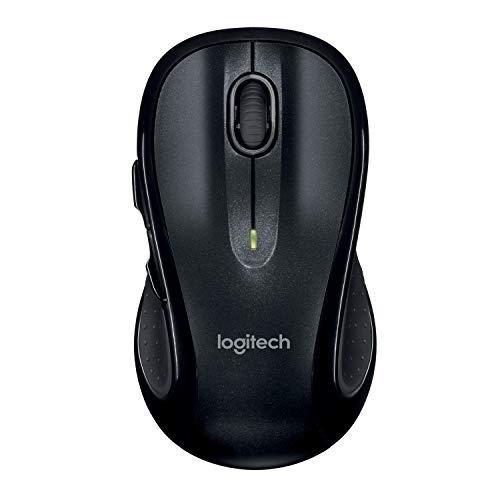 Logitech M510 Kabellose Maus, 2.4 GHz Verbindung via Unifying USB-Empfänger, 1000 DPI Laser-Sensor, 24-Monate Akkulaufzeit, 7 Tasten, PC/Mac - Schwarz, Englische Verpackung