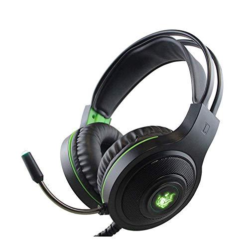 DBSCD Gaming Headset 7.1 Sonido Envolvente de Bajos Anulación de Ruido Ergonomía Auriculares Ligeros con Cable USB para PC, Xbox One, PS4, Interruptor Nnintedo (Color: Negro)
