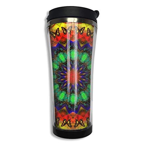 Pared doble colorido caleidoscopio tinte corbata Weed Mandala botella de agua taza de café para viajes de oficina escuela al aire libre hogar
