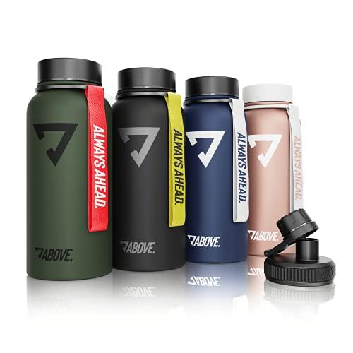 Trinkflasche Edelstahl 950ML I 2 Trinkverschlüsse I Thermosflasche Doppelwandig I BPA Frei I Kohlensäure Geeignet I Fitness, Sport, Gym (Schwarz)