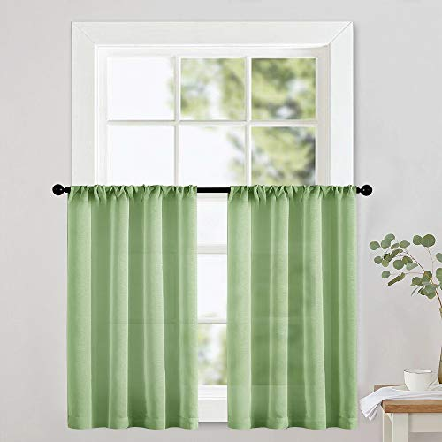 MRTREES Sheer Tier Curtains 36 inch Length Kitchen Curtain Sheers Short Transparent Voile Small Window Curtain Panels Bathroom Rod Pocket Light Filtering Green 2 Panels