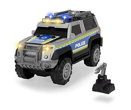 Dickie Toys Polizei SUV mit Zubehör, Polizeiauto, Geländefahrzeug, Spielzeugauto, Heckklappe zum Öffnen, Licht & Sound, inkl. Batterien, 30 cm, ab 3 Jahren