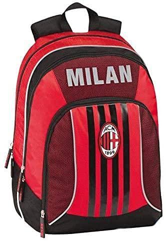 Mochila escolar del AC Milan, 3 compartimentos, 32 x 43 x 23 cm, producto oficial