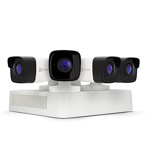 EZVIZ CRISPr FULL HD 1080P Outdoor Surveillance System, 4 Weatherproof HD Security Cameras, 4 Channel 1TB DVR Storage, 100ft EXIR Night Vision, Customizable Motion Detection Zones