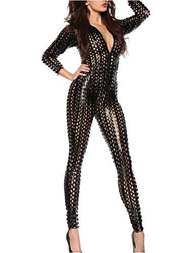 Panegy Damen Catsuit mit Loch-Struktur aus Lackleder Reizvoll und Sexy Jumpsuit mit Reißverschluss - Schwarz Größe M