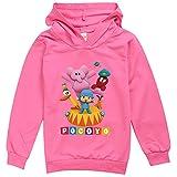 Pocoyo Sudaderas con capucha para niños y niñas, unisex, de manga larga, camiseta Pocoyo, Rosa Roja, 3-4 Años