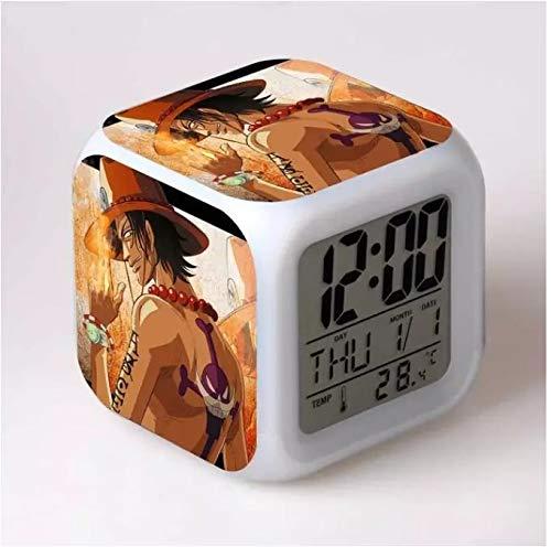 fdgdfgd Equipo de animación de Luffy Robin, Reloj Despertador para niños, Reloj Despertador LED 3D, lámpara de Dibujos Animados con termómetro, Reloj Despertador con Fecha