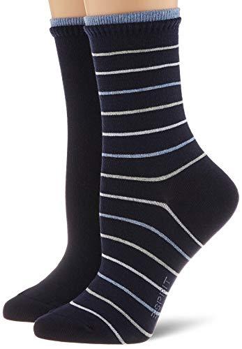 ESPRIT Damen Easy Stripe 2-Pack W SO Socken, Blau (Marine 6120), 39-42 (2er Pack)