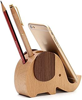Ming-Ying Holder for Desk & Cute Gifts, Wood Elephant Pen Hotan, Wood Elephant Pen Holder Container With Phone Holder Desk Organizer 5.12 L 1.89 W3.27 H