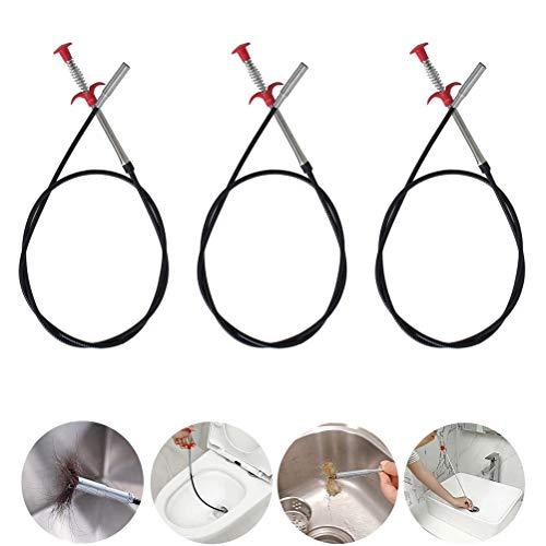 3PCS 60cm Drain Snake, Spring Pipe Baggerwerkzeuge Drain Schlauch Cleaner Sticks Cleaner Biegbarer Haken für Drains Spüle WC Lüftungsschlitze
