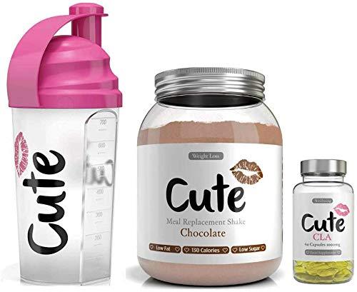 Cute Nutrition Cioccolato Shake Sostitutivi del Pasto con Shaker e Capsule CLA per la Perdita di Peso per Donne Barattolo da 500g Shaker di 700ml