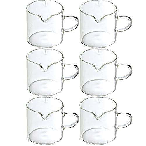 6 Stks Crème Glas 4 Oz 120ml Melk Pitcher met Handvat Koffie Serveerschaal voor Saus Esdoorn Siroop in Keuken Tafel