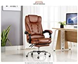 Kepler Brooks Italia High Back Reclining Leatherette Office/Desk Chair with Leg Rest (Brown)