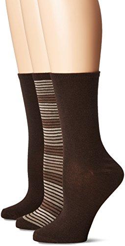 No Nonsense Women's Flat Knit Crew Sock, 3 Pair Pack, Striped-Espresso, 4-10