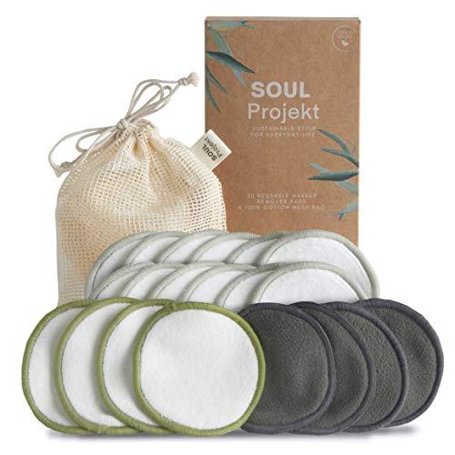 Soul Projekt 20 pcs Disques Démaquillants Réutilisables en Bambou, Lingette Démaquillante Lavable Bio, Coton Pads, avec Sac de Lavage, écologique