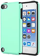 KELIFANG Case Compatible with iPod Touch 7, 6 and 5, Ultra Slim Full Body Protective Case with Dual Layer Shockproof TPU Bumper Hard Back Cover Compatible with 7th/6th/5th Generation, Green