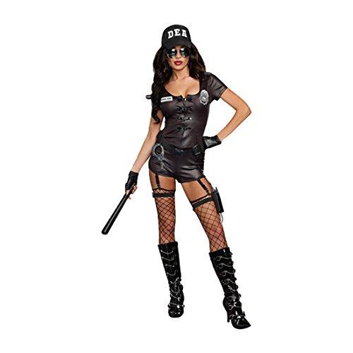 Dreamgirl Women's DEA Secret Agent Cop Costume, Black, X-Large