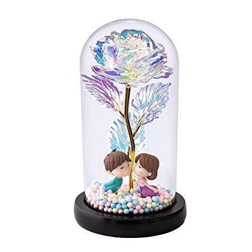 Auelife Schöne und das Biest Rose Kit, künstliche Bunte Goldfolie Rose Blume und LED Fairy Lichterketten in Glaskuppel für Home Decor Holiday Party Hochzeitstag