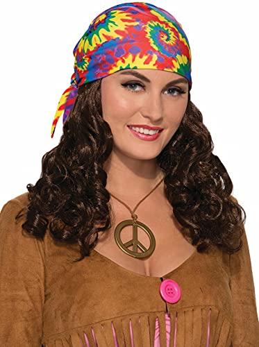 Forum Novelties, Unisex Child Standard Hippie Head Scarf W Wig-Brown, Multi, One Size