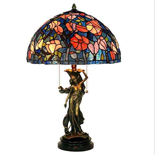 Dqrlighting Tiffany - Lámpara de mesa de 16 pulgadas de cobre puro, color cristal, lámpara de mesa de salón, dormitorio, restaurante, club, hotel, lámpara de noche, 40 cm