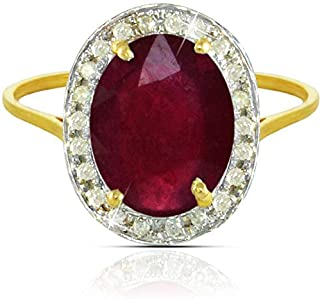 Vera Perla Women's 18K Gold 10mm Oval Cut Ruby 0.12Ct Diamonds Ring - Size 6.5 US