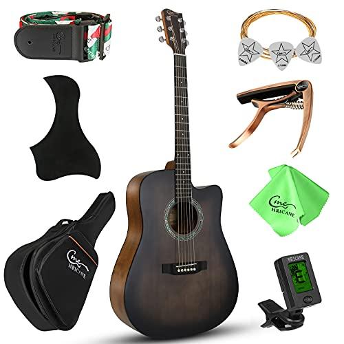 Hricane Guitarra acústica 4/4 cutaway para principiantes,...