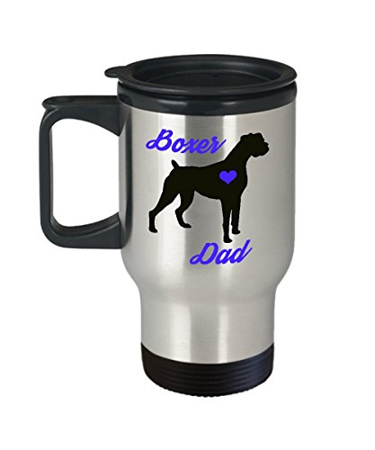 Boxer Dad Travel Mug - Insulated Portable Coffee Cup With Handle And Lid For Dog Lovers - Perfect Christmas Gift Idea For Men - Novelty Animal Lover Quote Statement Accessories