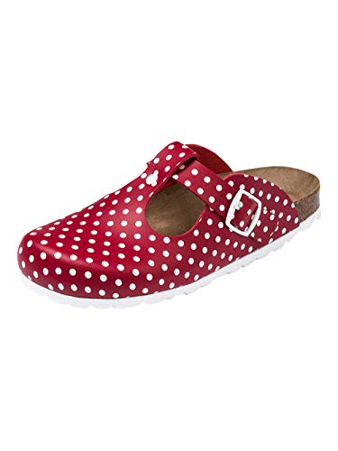 CLINIC DRESS - Damen-Clog Rot Gepunktet Polka Dots rot/weiß, Motiv Polka Dots 38