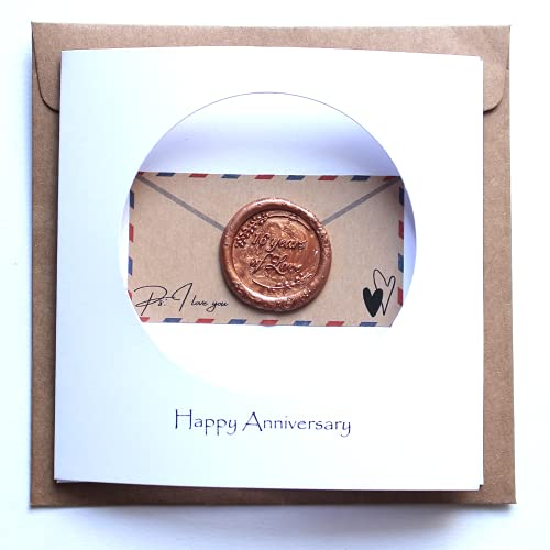 16th Wedding Anniversary Card For Her Him, Handmade Wax Anniversary Card for Wife, Husband, Couple(16th)
